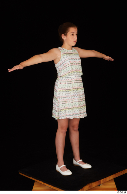 Whole Body Woman T poses White Dress Average Standing Studio photo references