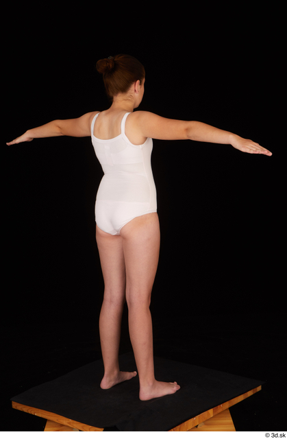 Whole Body Woman T poses White Underwear Average Standing Studio photo references