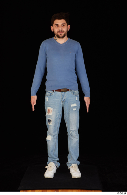 Whole Body Man White Sweatshirt Jeans Slim Standing Studio photo references
