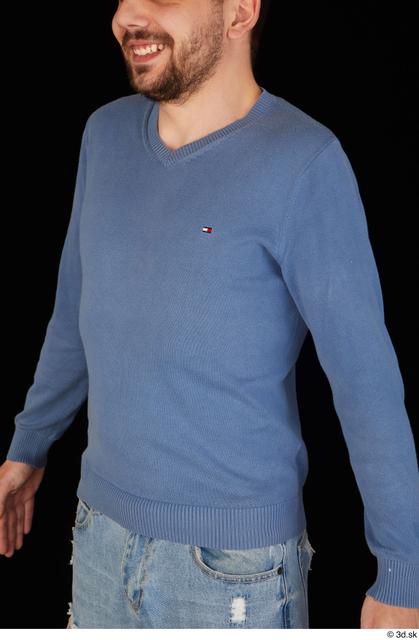 Upper Body Man White Sweatshirt Slim Studio photo references