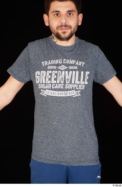 Upper Body Man White Shirt T shirt Slim Studio photo references