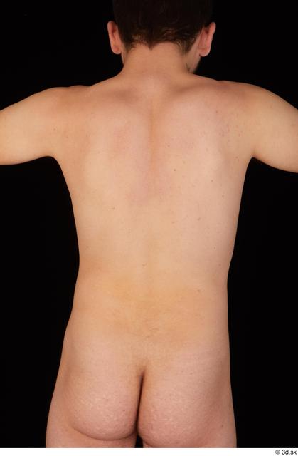 Upper Body Back Man White Nude Slim Studio photo references