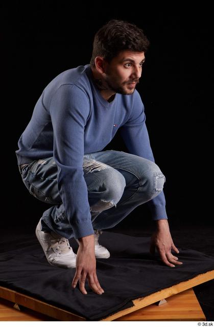 Whole Body Man White Sweatshirt Jeans Slim Kneeling Studio photo references