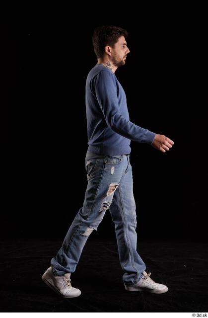 Whole Body Man White Sweatshirt Jeans Slim Walking Studio photo references