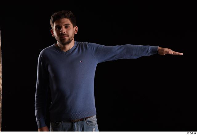Arm Man White Sweatshirt Slim Studio photo references