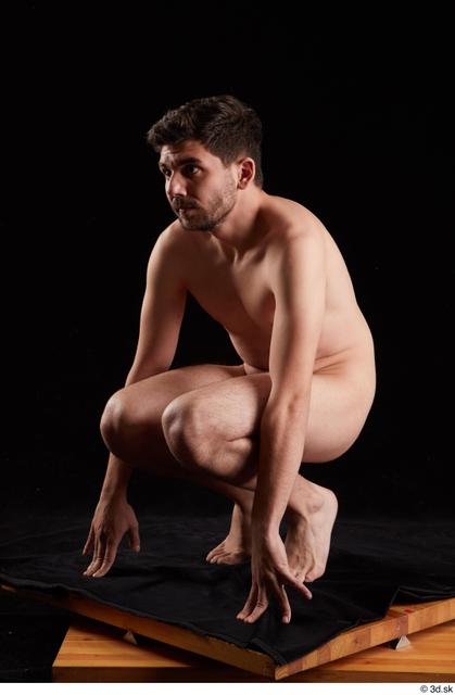 Whole Body Man White Nude Slim Kneeling Studio photo references