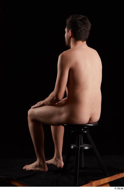Whole Body Man White Nude Slim Sitting Studio photo references