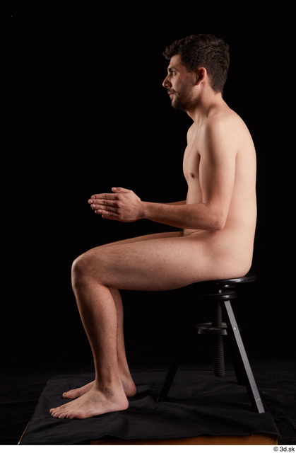 Whole Body Man White Nude Slim Sitting Studio photo references