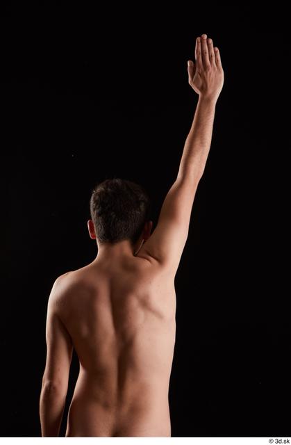 Arm Back Man White Nude Slim Studio photo references