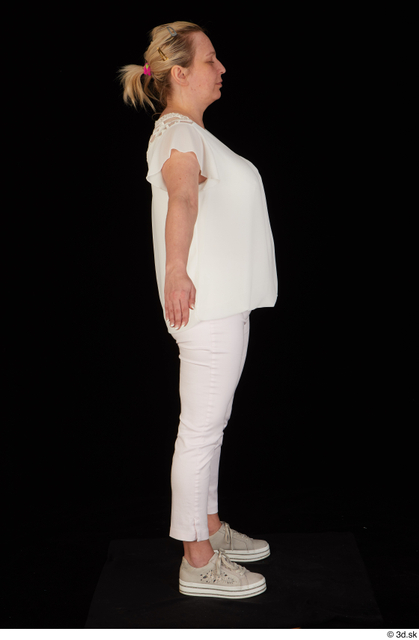 Whole Body Woman White Pants Chubby Standing Top Studio photo references