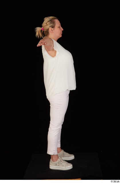 Whole Body Woman T poses White Pants Chubby Standing Top Studio photo references