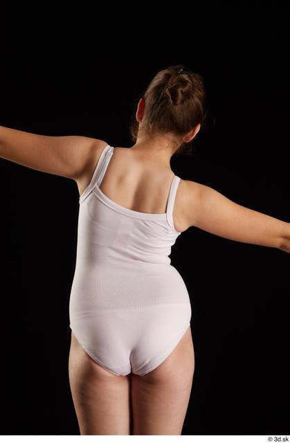 Upper Body Back Woman White Underwear Average Studio photo references