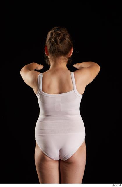Arm Back Woman White Underwear Average Studio photo references