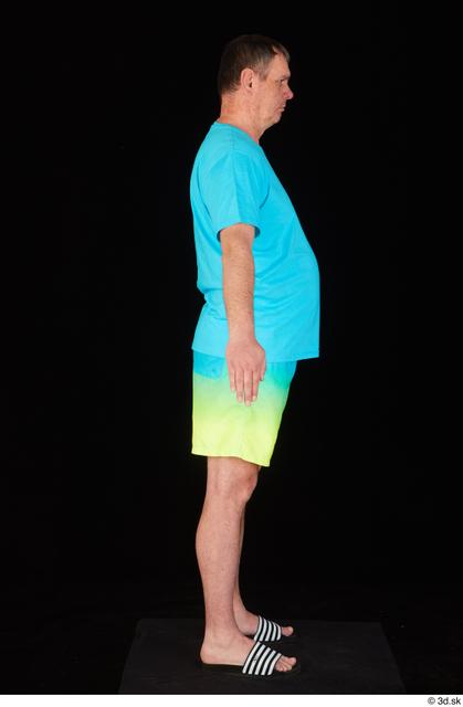 Whole Body Man White Shirt Shorts Chubby Standing Studio photo references