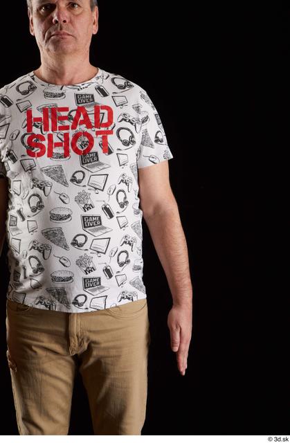 Arm Man White Shirt Chubby Studio photo references