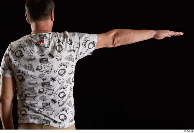 Arm Back Man White Shirt Chubby Studio photo references