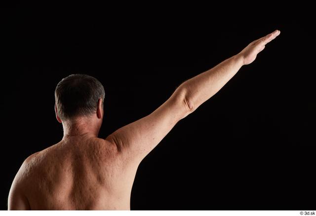 Arm Back Man White Nude Chubby Studio photo references
