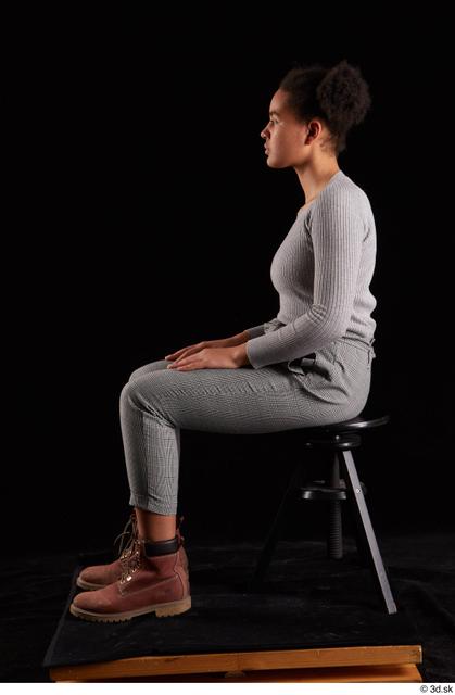 Whole Body Woman Black Sweatshirt Trousers Average Sitting Studio photo references