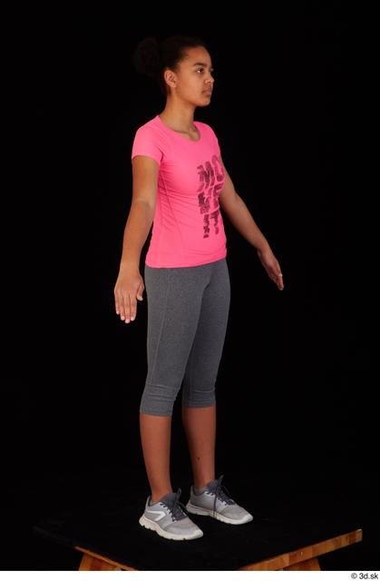 Whole Body Woman Black Sports Shirt Average Standing Leggings Studio photo references