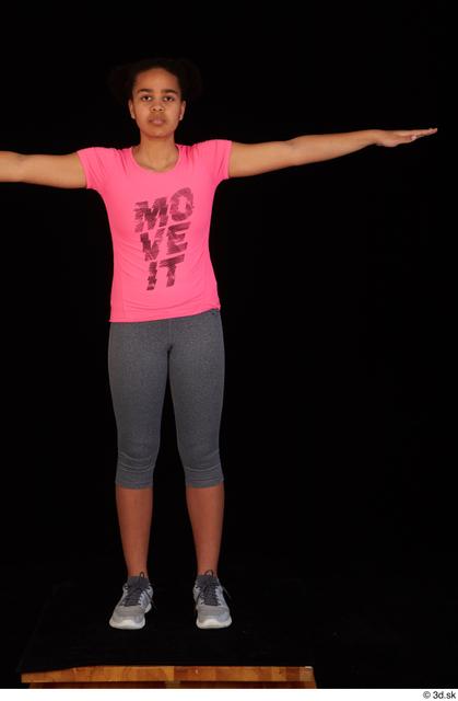 Whole Body Woman T poses Black Sports Shirt Average Standing Leggings Studio photo references