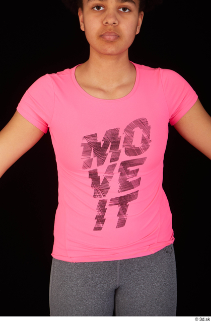Upper Body Woman Black Sports Shirt Average Studio photo references