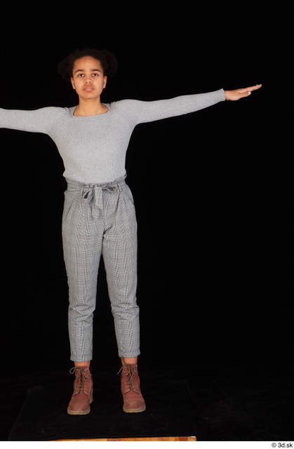 Whole Body Woman T poses Black Casual Sweatshirt Trousers Average Standing Studio photo references
