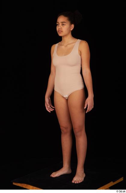 Whole Body Woman Black Underwear Average Standing Studio photo references