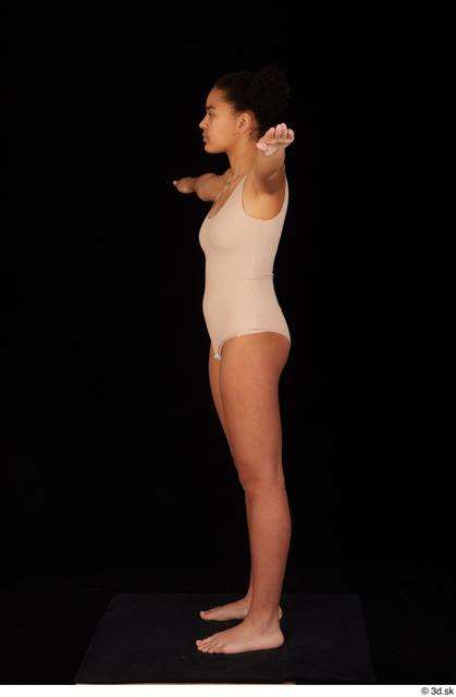 Whole Body Woman T poses Black Underwear Average Standing Studio photo references