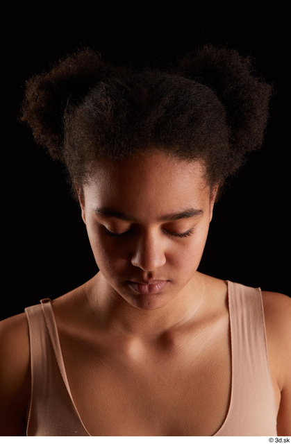 Head Woman Black Average Studio photo references