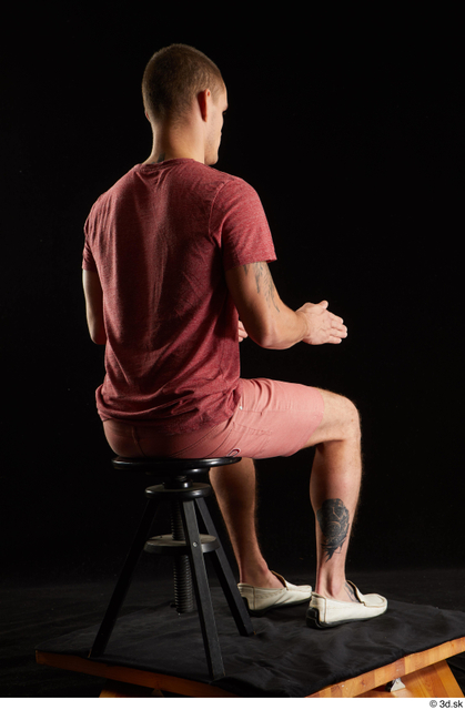 Whole Body Man White Shirt Shorts Athletic Sitting Studio photo references