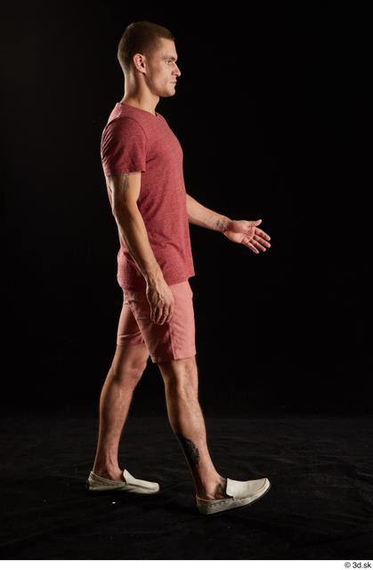 Whole Body Man White Shirt Shorts Athletic Walking Studio photo references