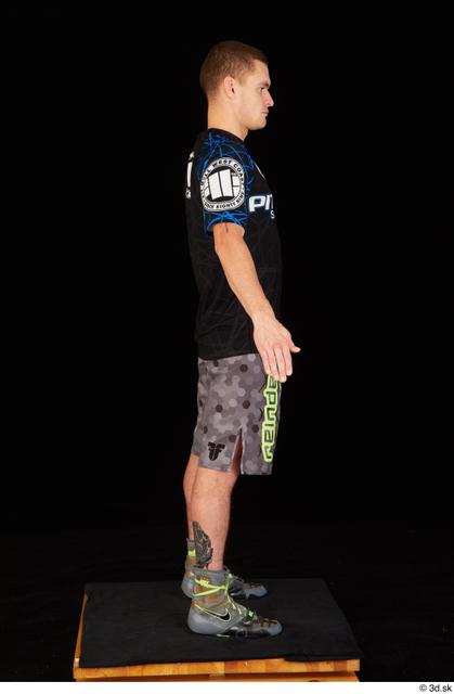 Whole Body Man White Shoes Shirt Shorts Athletic Standing Studio photo references