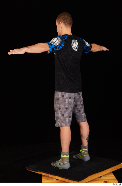 Whole Body Man T poses White Shoes Shirt Shorts Athletic Standing Studio photo references