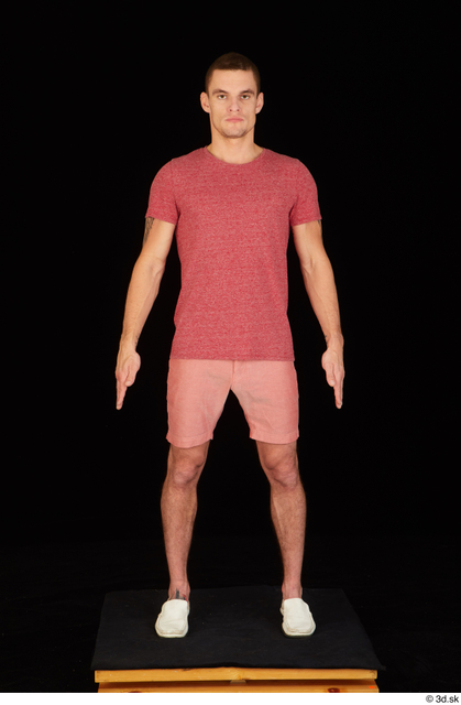 Whole Body Man White Casual Shirt Shorts Athletic Standing Studio photo references