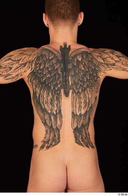 Upper Body Back Man White Nude Athletic Studio photo references