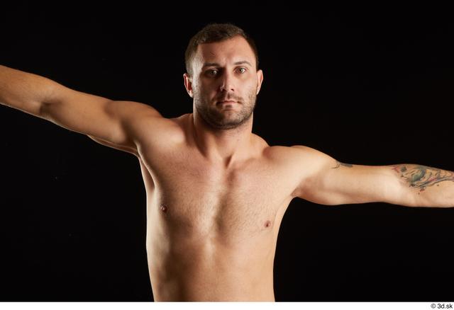 Man White Nude Slim Studio photo references