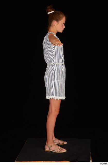 Whole Body Woman T poses Casual Dress Slim Standing Studio photo references