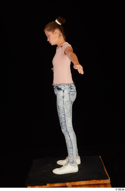 Whole Body Woman T poses Casual Shirt Jeans Slim Standing Studio photo references