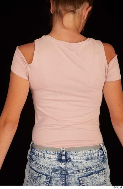 Upper Body Woman White Casual Shirt Slim Studio photo references