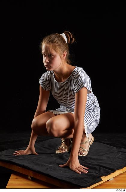 Whole Body Woman White Casual Dress Slim Kneeling Studio photo references