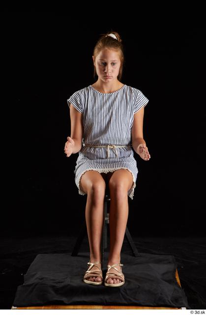Whole Body Woman White Casual Dress Slim Sitting Studio photo references