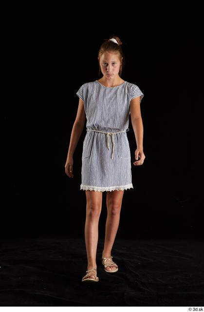 Whole Body Woman White Casual Dress Slim Walking Studio photo references