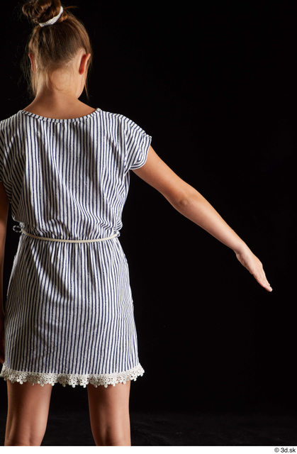 Arm Back Woman White Casual Dress Slim Studio photo references