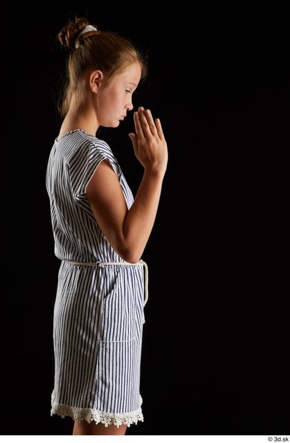 Arm Woman White Casual Dress Slim Studio photo references