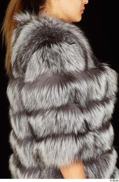 Arm Upper Body Woman White Coat Average Studio photo references