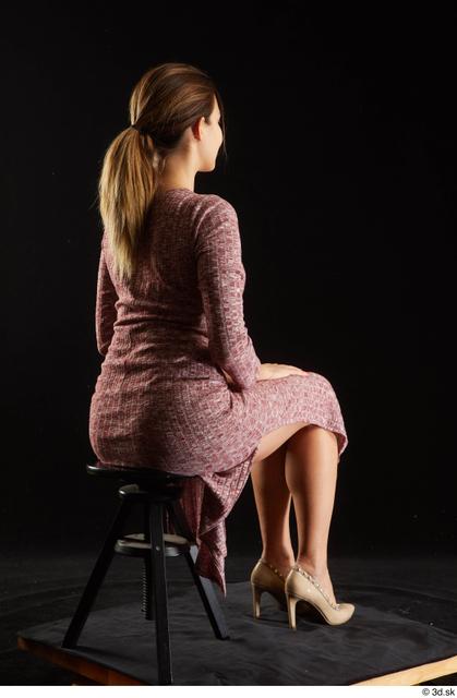 Whole Body Woman White Dress Average Sitting Studio photo references