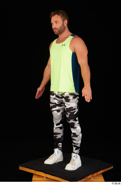 Whole Body Man White Sports Shoes Muscular Standing Leggings Top Studio photo references