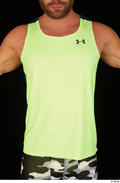 Upper Body Man White Sports Muscular Top Studio photo references