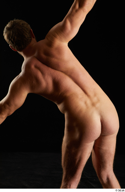 Upper Body Back Man White Nude Muscular Studio photo references