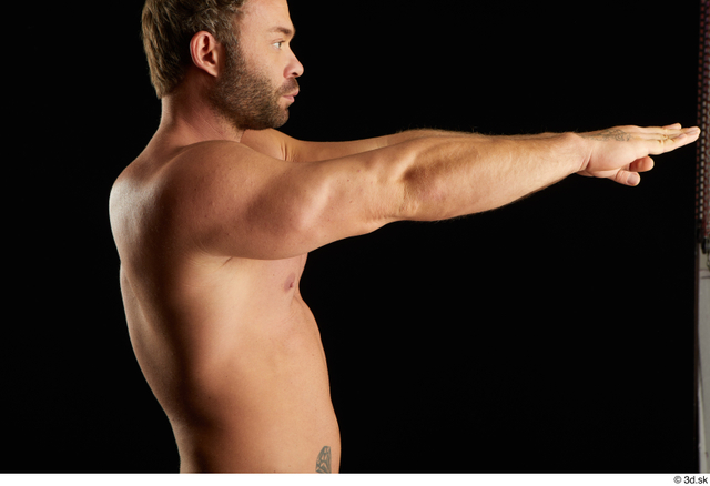 Arm Man White Nude Muscular Studio photo references